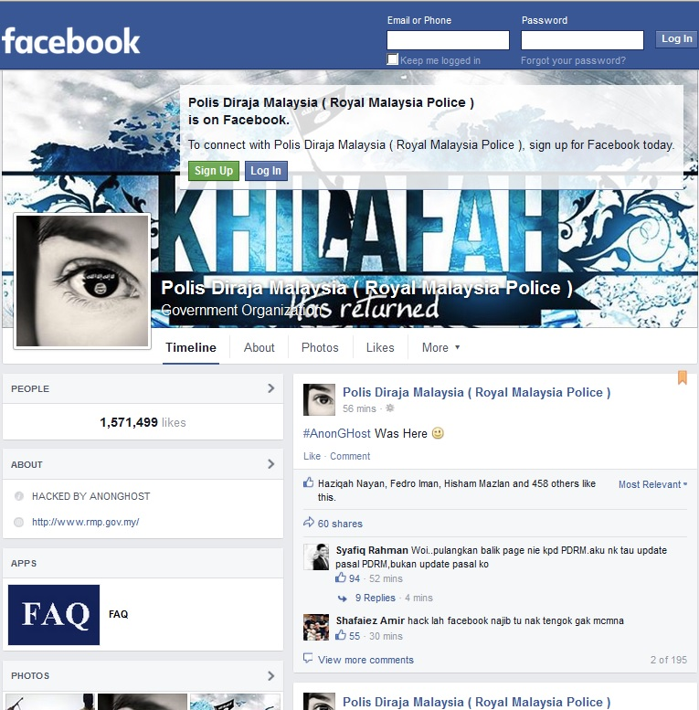 PDRM Facebook Hacked  and guess what they wrote there?